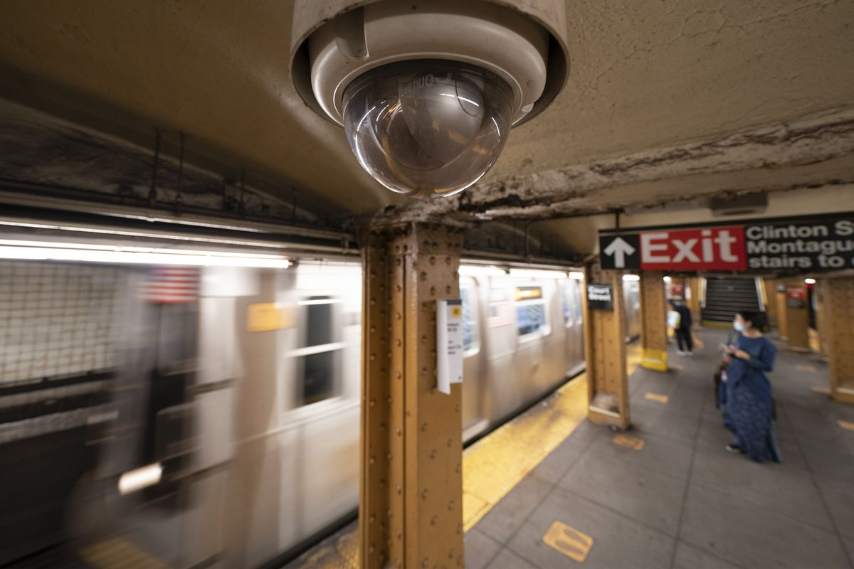 In this Oct. 7, 2020, file photo, a video surveillance camera is installed on the ceiling above a subway platform in the Court Street station in the Brooklyn borough of New York. State lawmakers across the U.S. are reconsidering the tradeoffs of facial recognition technology amid civil rights and racial bias concerns.
