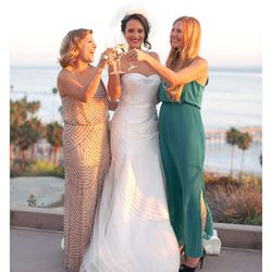 """""""My wedding dress hunt was a long one, filled with full tulle gowns, pretty blush colors, lace and many different dress shapes. I had an idea of what I wanted, but when I tried on many of the gowns in my research folder they just didn't feel perfect on me"""