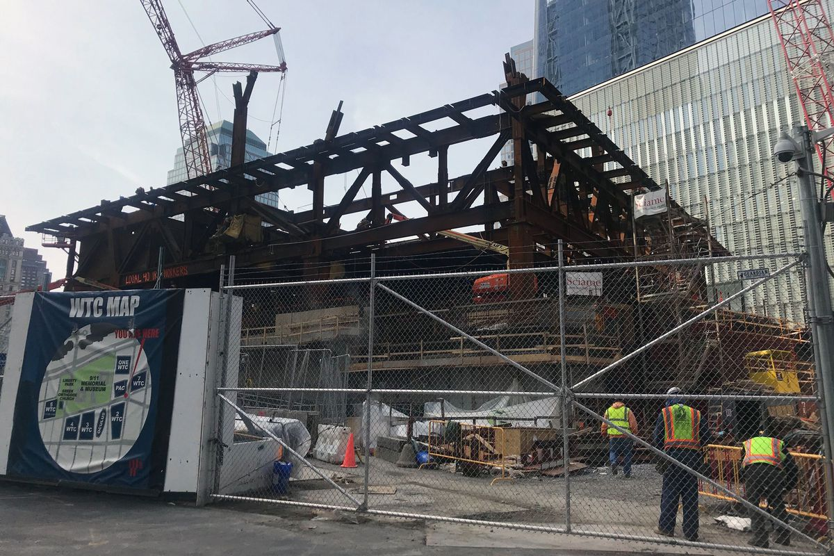 A World Trade Center construction site continues to operate during the coronavirus outbreak.