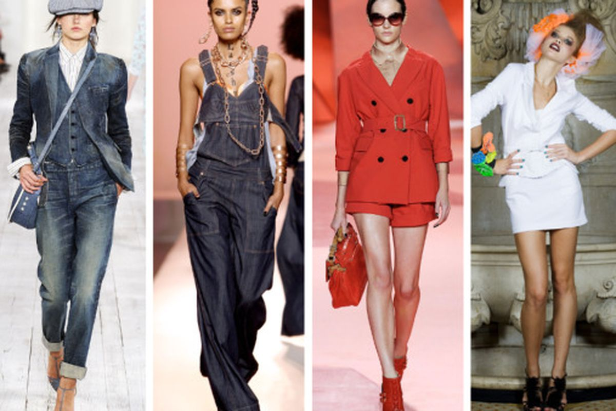 """A Ralph Lauren 3-piece denim suit doesn't surprise us, but Gaultier overalls do. 3.1 Phillip Lim gets all matchy-matchy for 2010, and when Betsey Johnson designs something this tame, you know the trend is for reals. Images via <a href=""""http://www.St"""