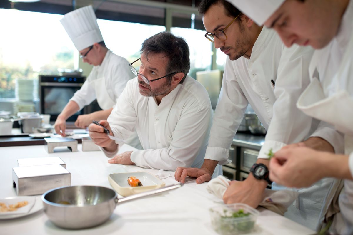 Michel Troisgros and fellow kitchen staff in Chefs Table France