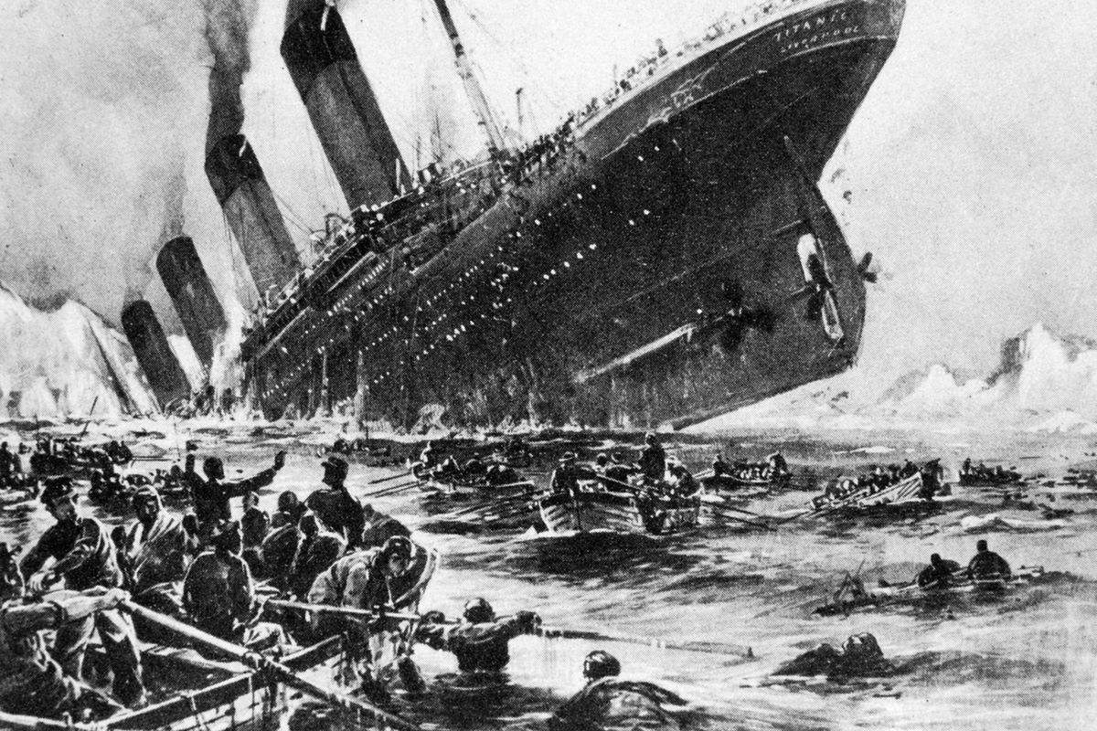 An illustration depicting the sinking of the Titanic.