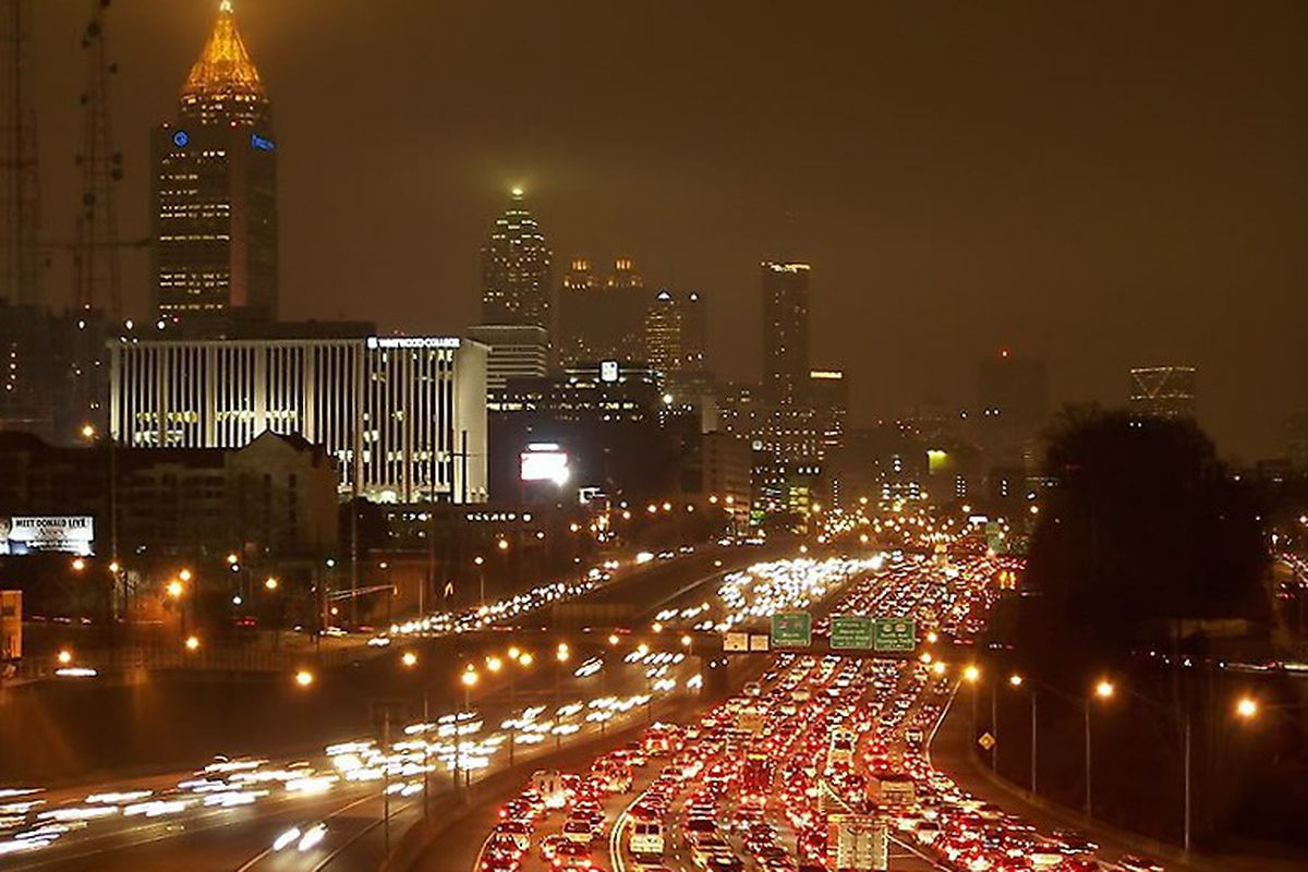 Traffic on the downtown Atlanta Connector at might.