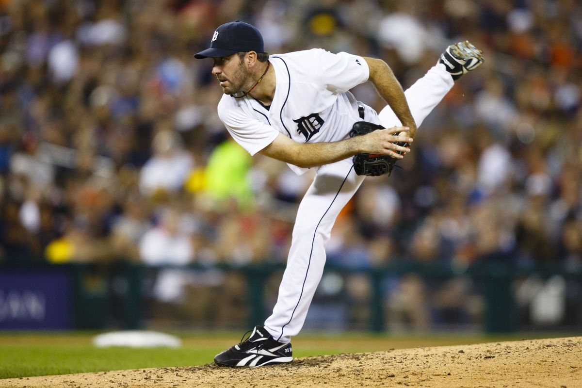 August 6, 2012; Detroit, MI, USA; Detroit Tigers starting pitcher Justin Verlander (35) pitches during the eighth inning against the New York Yankees at Comerica Park. Detroit won 7-2. Mandatory Credit: Rick Osentoski-US PRESSWIRE