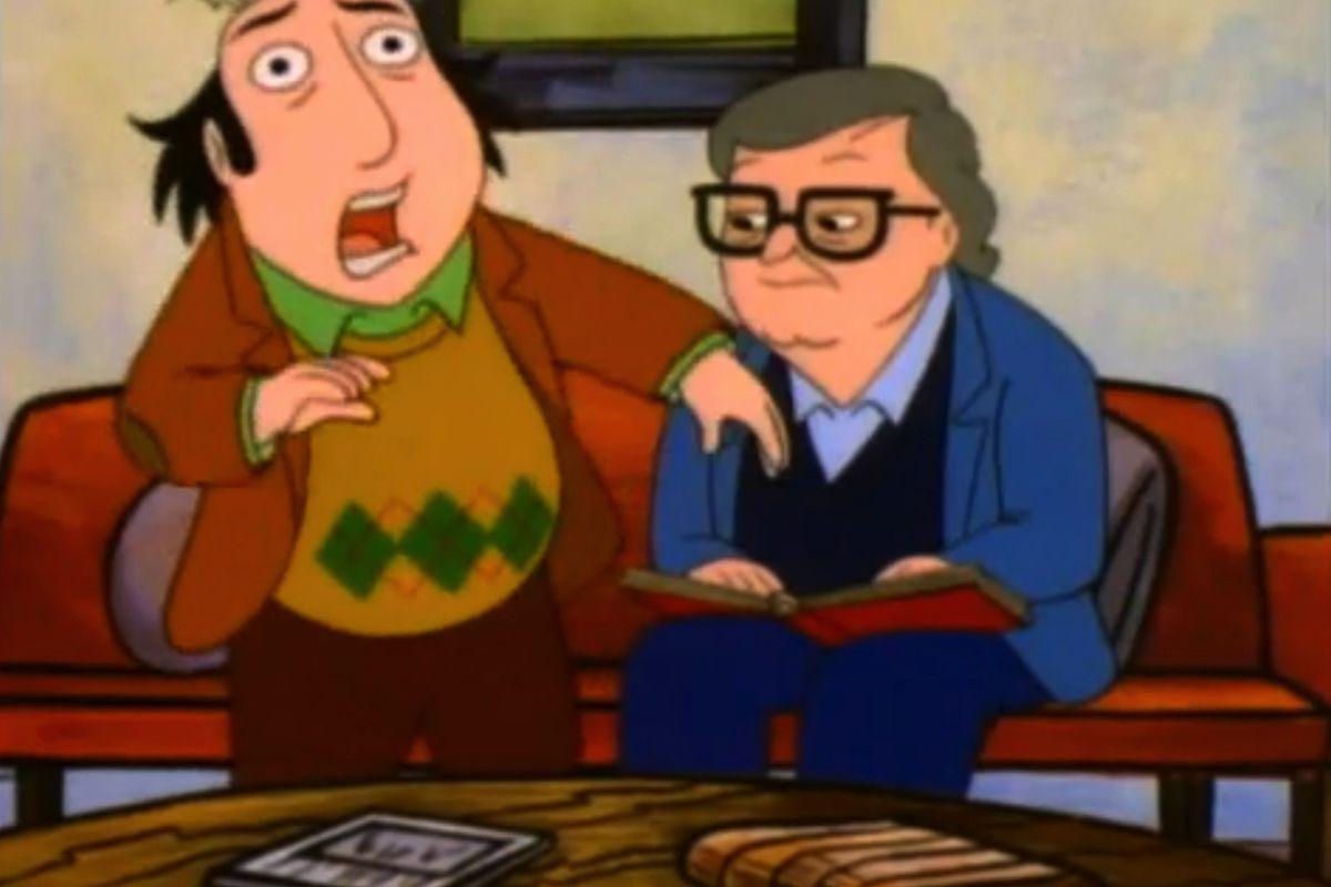 Jay Sherman (Jon Lovitz) and Roger Ebert (as himself), on The Critic.