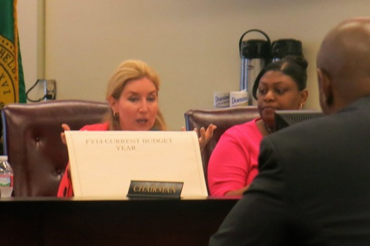 Shelby County Commissioner Heidi Schafer discusses SCS capital budget request with Supt. Dorsey Hopson II and his administrative team.