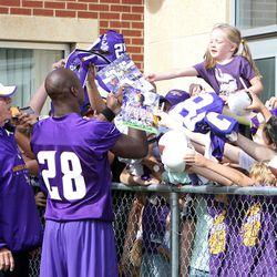 Jul 26, 2013; Mankato, MN, USA; Minnesota Vikings running back Adrian Peterson (28) signs autographs for fans during training camp at Minnesota State University. Mandatory Credit: Brace Hemmelgarn-USA TODAY Sports
