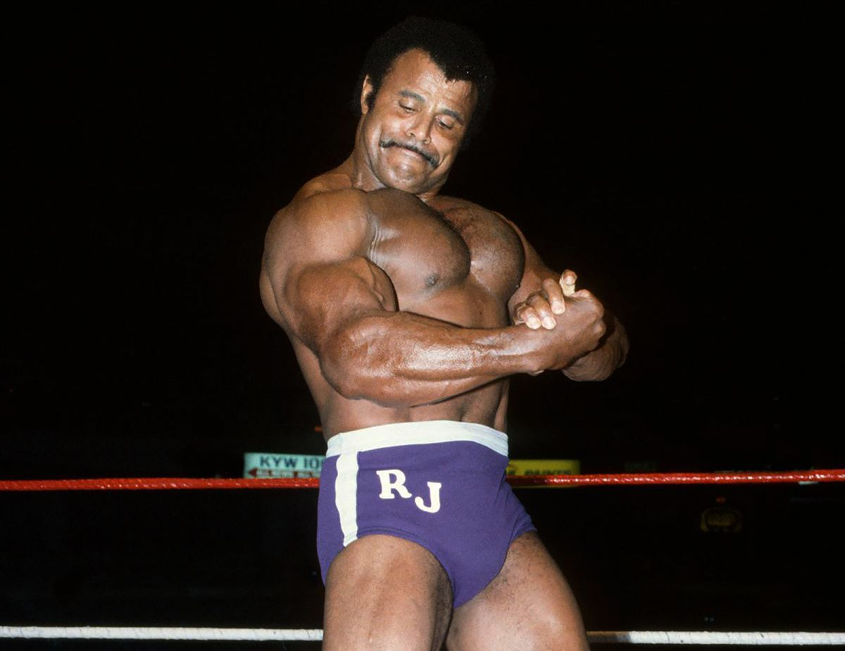 """In this undated photo provided by WWE, Inc., Rocky """"Soul Man"""" Johnson poses in the ring."""