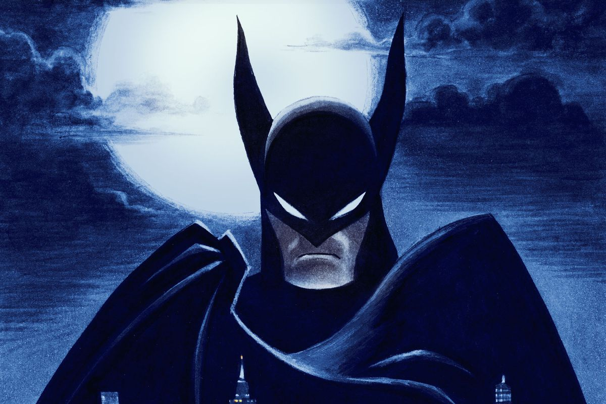 Batman raises his cape, silhouetted against a pale moon, in promotional art for Batman: Caped Crusader.