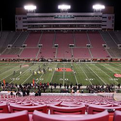 The Utah Utes and USC Trojans compete without fans in attendance at Rice-Eccles Stadium in Salt Lake City on Saturday, Nov. 21, 2020.