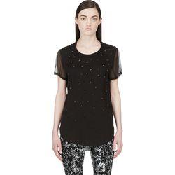 "<b>3.1 Phillip Lim</b> blouse, <a href=""https://www.ssense.com/women/product/31_phillip_lim/black-silk-beaded-degraded-meteorite-blouse/99173"">$135</a>"