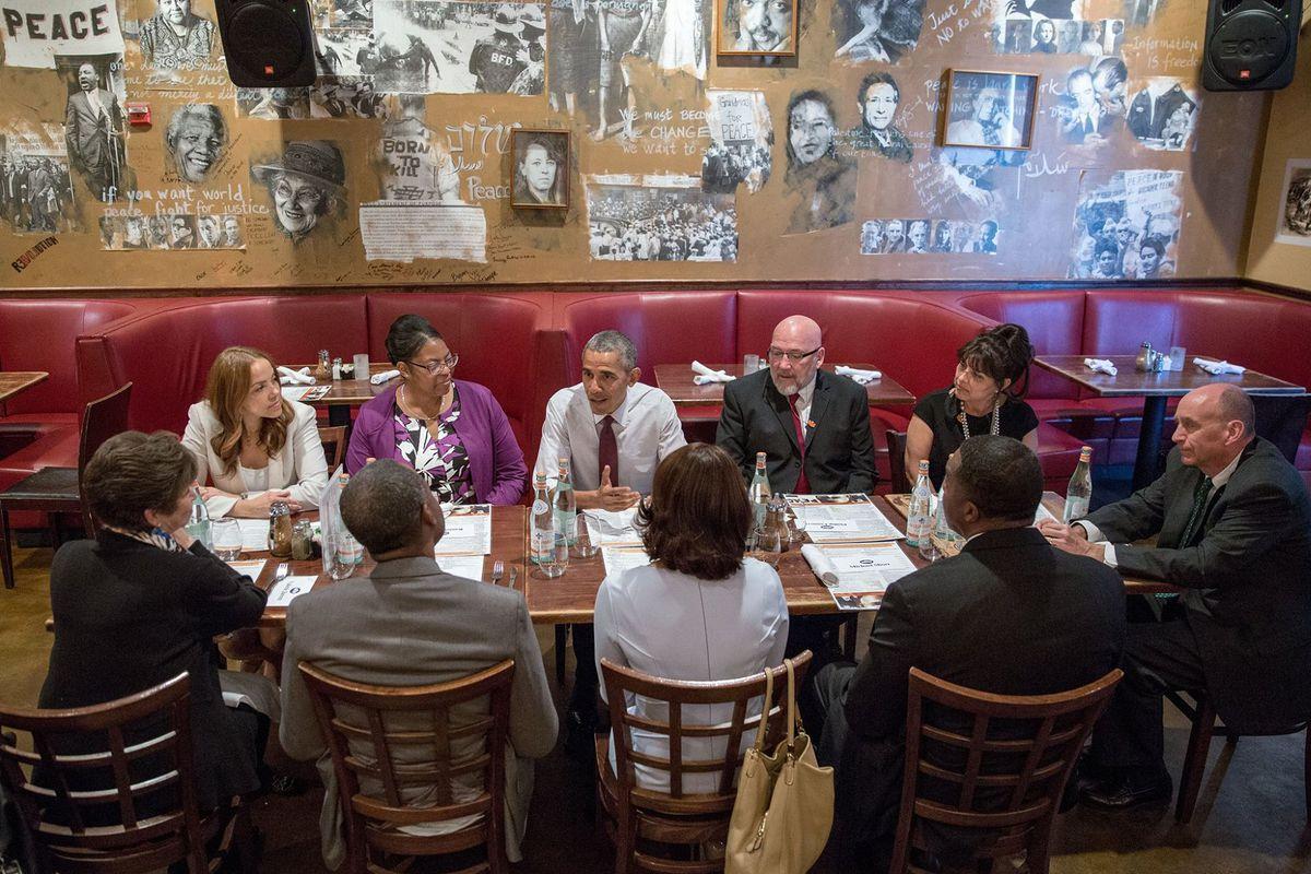 President Obama at Busboys & Poets
