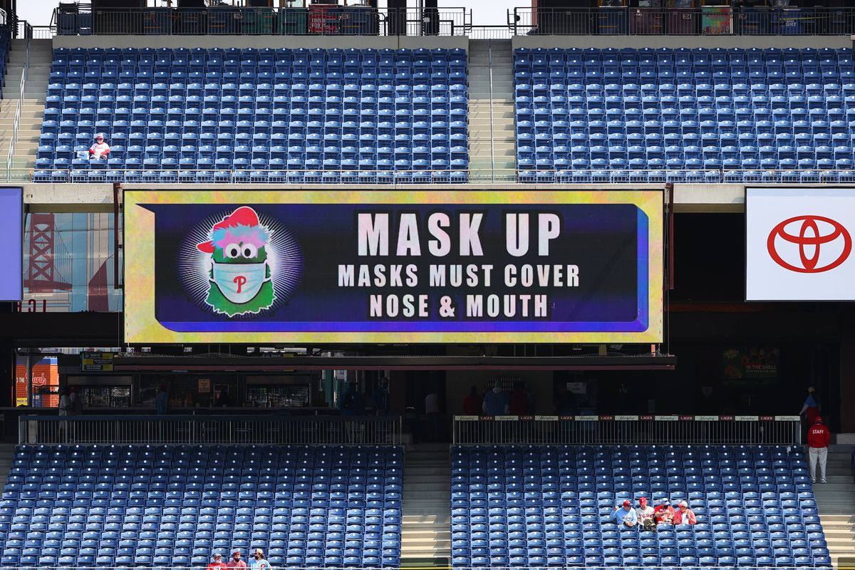 scoreboard at phils stadium that says mask up masks must cover nose & mouth