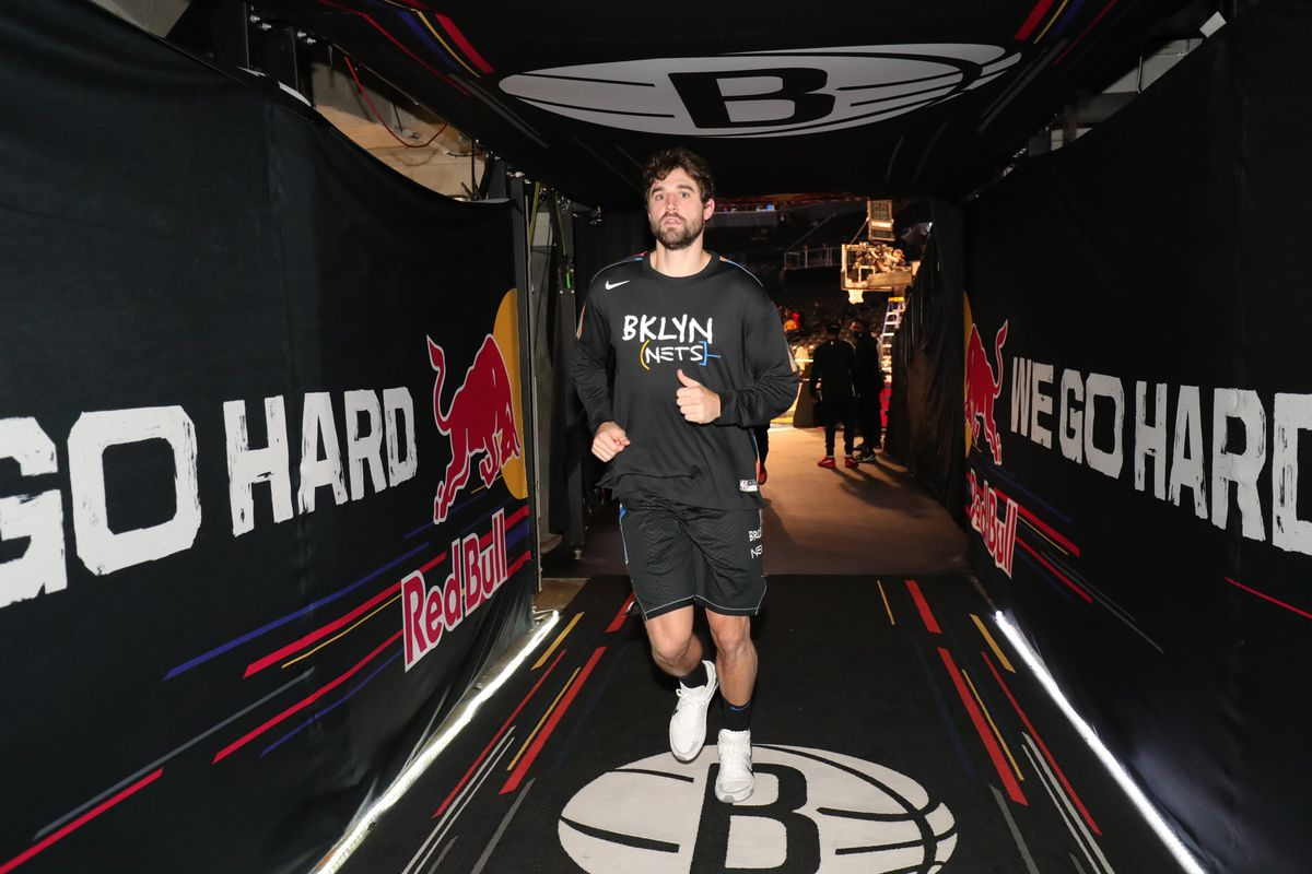 oe Harris #12 of the Brooklyn Nets runs off the court after the game against the New Orleans Pelicans on April 7, 2021 at Barclays Center in Brooklyn, New York.
