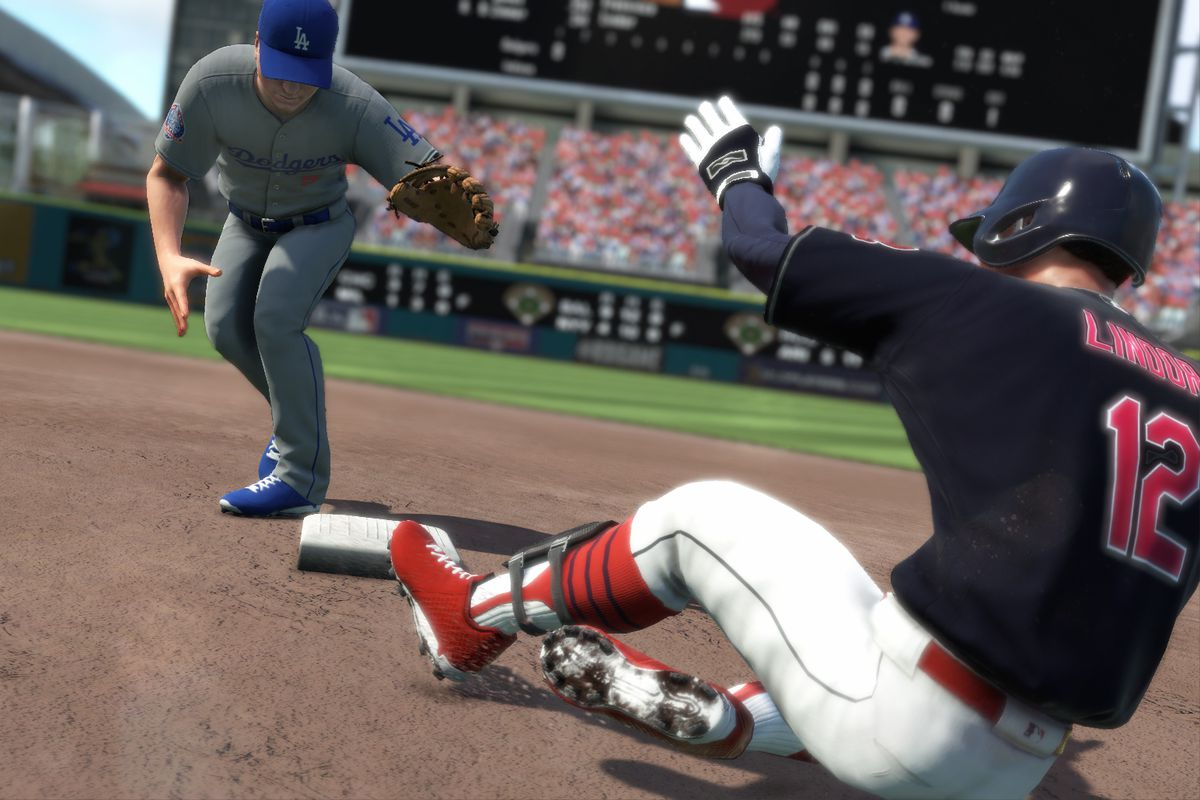 R.B.I. Baseball 18 - Cleveland Indians shortstop Francisco Lindor slides into second base as Los Angeles Dodgers shortstop Corey Seager awaits a throw
