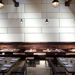The 36-seat dining room blends industrial and contemporary touches.
