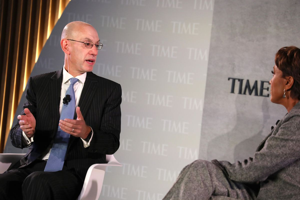 Commissioner of the NBA, Adam Silver and broadcaster Robin Roberts speak onstage during the TIME 100 Health Summit at Pier 17 on October 17, 2019 in New York City.
