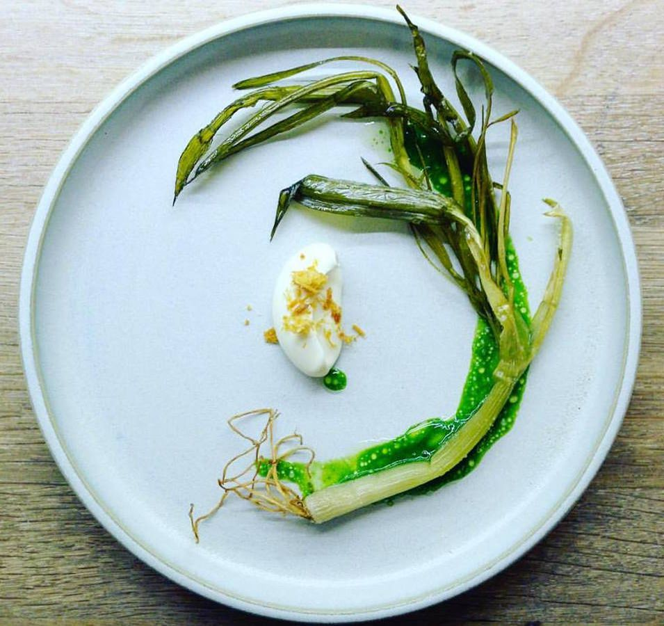 From above, a full shoot of spring garlic spirals around a plate with a small bit of fish and cream in the middle