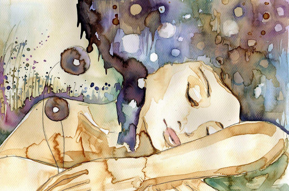 Sleeping woman illustration