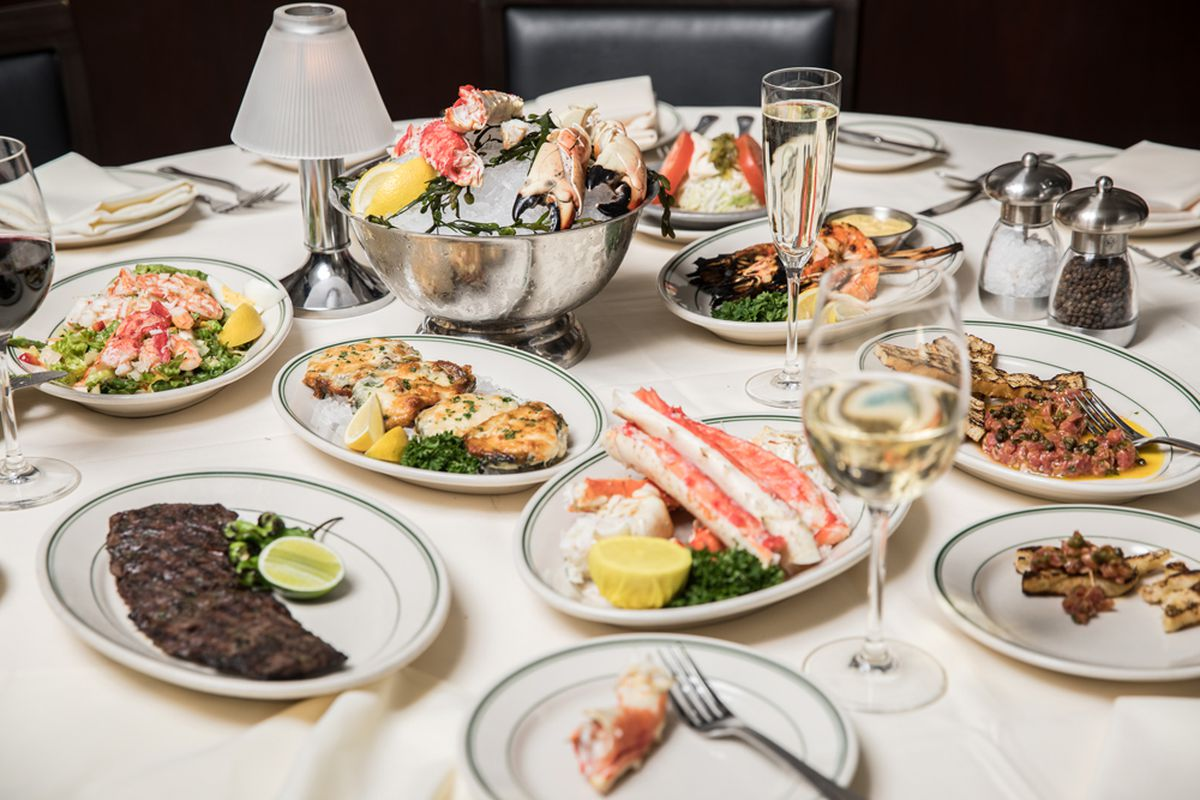 A dinner feast of steak, seafood and crab legs at the appropriately named Joe's Seafood, Prime Steak & Stone Crab.