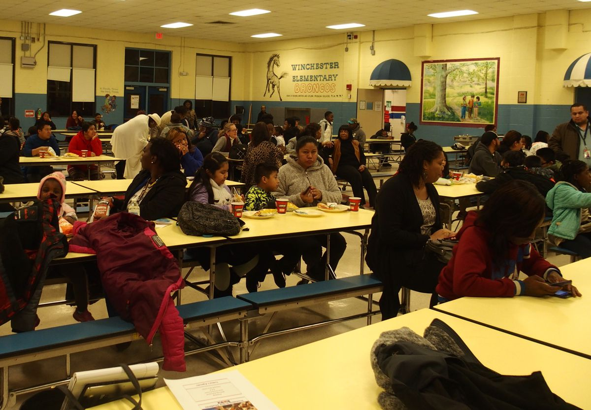 Winchester Elementary parents, students, and teachers during a community meeting in January.