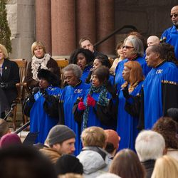Members of the Calvary Baptist Church choir perform as Jackie Biskupski is sworn in as Salt Lake City mayor during a ceremony outside the City-County Building Monday, Jan. 4, 2016.