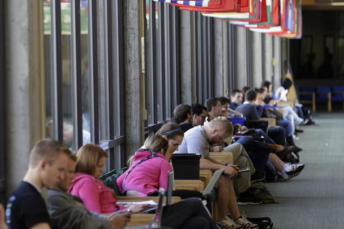 Utah Valley University students study in the hall of flags  on campus in Orem  Wednesday, Oct. 12, 2011.