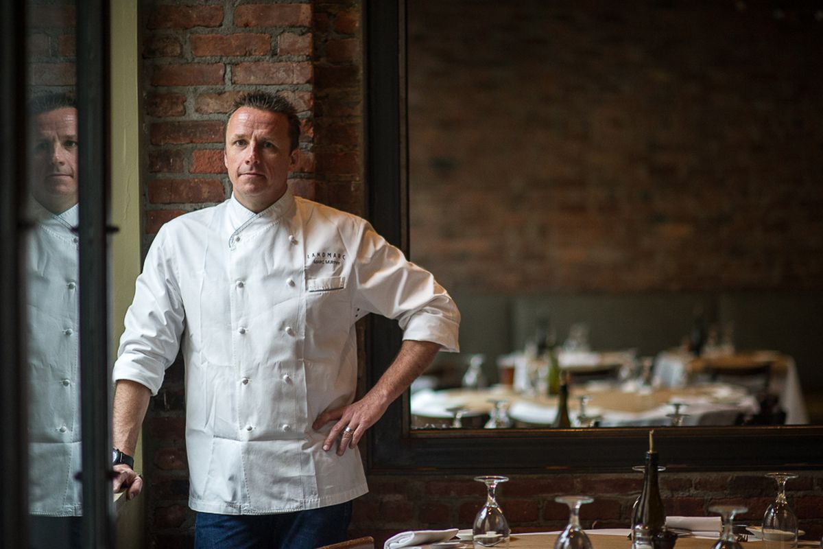 Marc Murphy in chef attire at Landmarc
