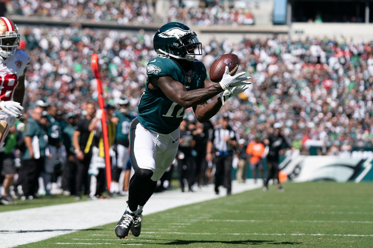 Philadelphia Eagles wide receiver Jalen Reagor (18) in action against the San Francisco 49ers at Lincoln Financial Field.