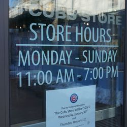 The Cubs Store closed, in Gallagher Way