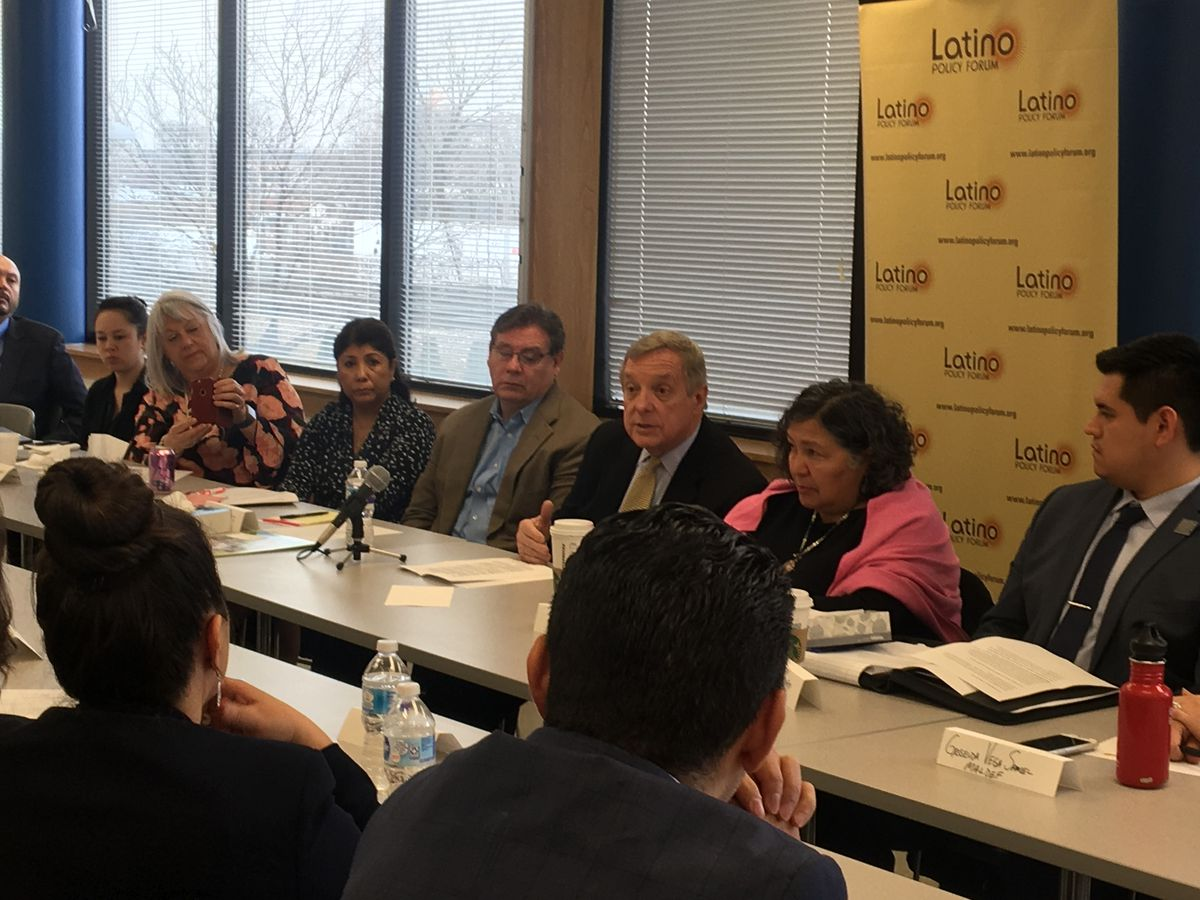 Sen. Dick Durbin participates in a roundtable discussion at the Latino Policy Forum Thursday in Little Village. Photo by Tina Sfondeles.