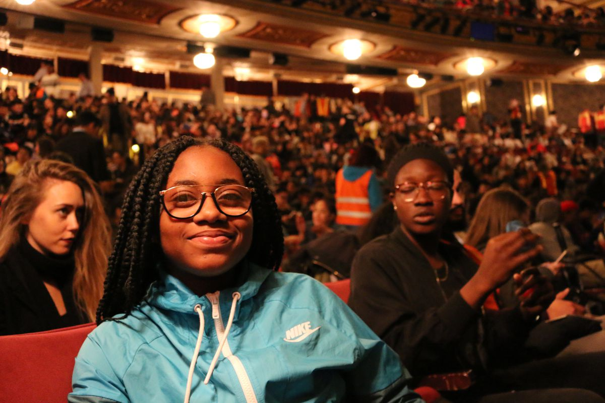 """Oluwafunmilayo Famuyiwa, a high school junior from Jamaica Gateway to the Sciences, during intermission at """"Hamilton."""""""