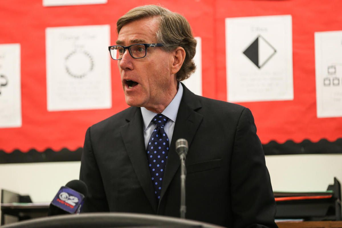 FILE - cott Anderson, Zions Bank president and CEO, speaks at a press conference for the Our Schools Now campaign at Washington Elementary School in Salt Lake City on Tuesday, Nov. 29, 2016. The Our Schools Now initiative to raise both income and sales ta