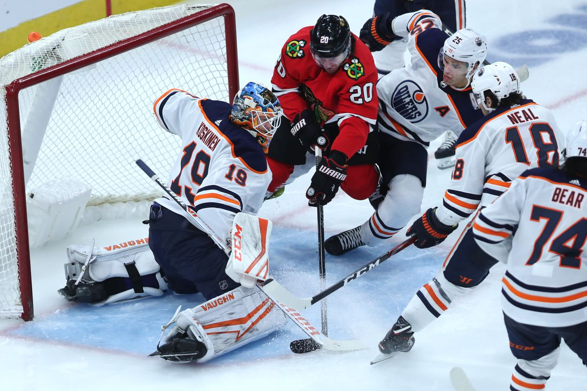 Chicago Blackhawks left wing Brandon Saad tries to score on Edmonton Oilers goaltender Mikko Koskinen in the third period of a game at the United Center in Chicago on Thursday, March 5, 2020.