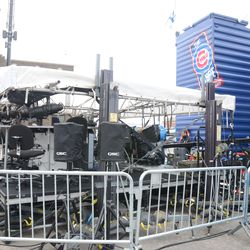 12:03 p.m. ESPN Baseball Tonight set up in front of the Cubs Store -