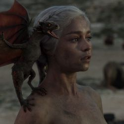 Season 1: Every mom knows that keeping your hair off your face is key when you just walked naked out of fire and have a newborn dragon.