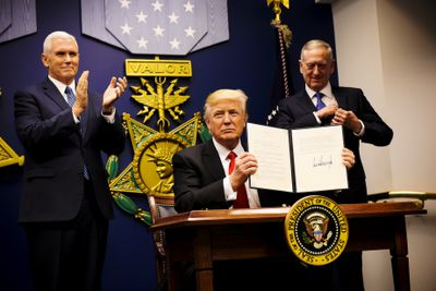"""President Trump announces executive actions calling for a """"great rebuilding"""" of the U.S. military and a more stringent vetting process for refugees in a ceremony at the Pentagon on January 27."""