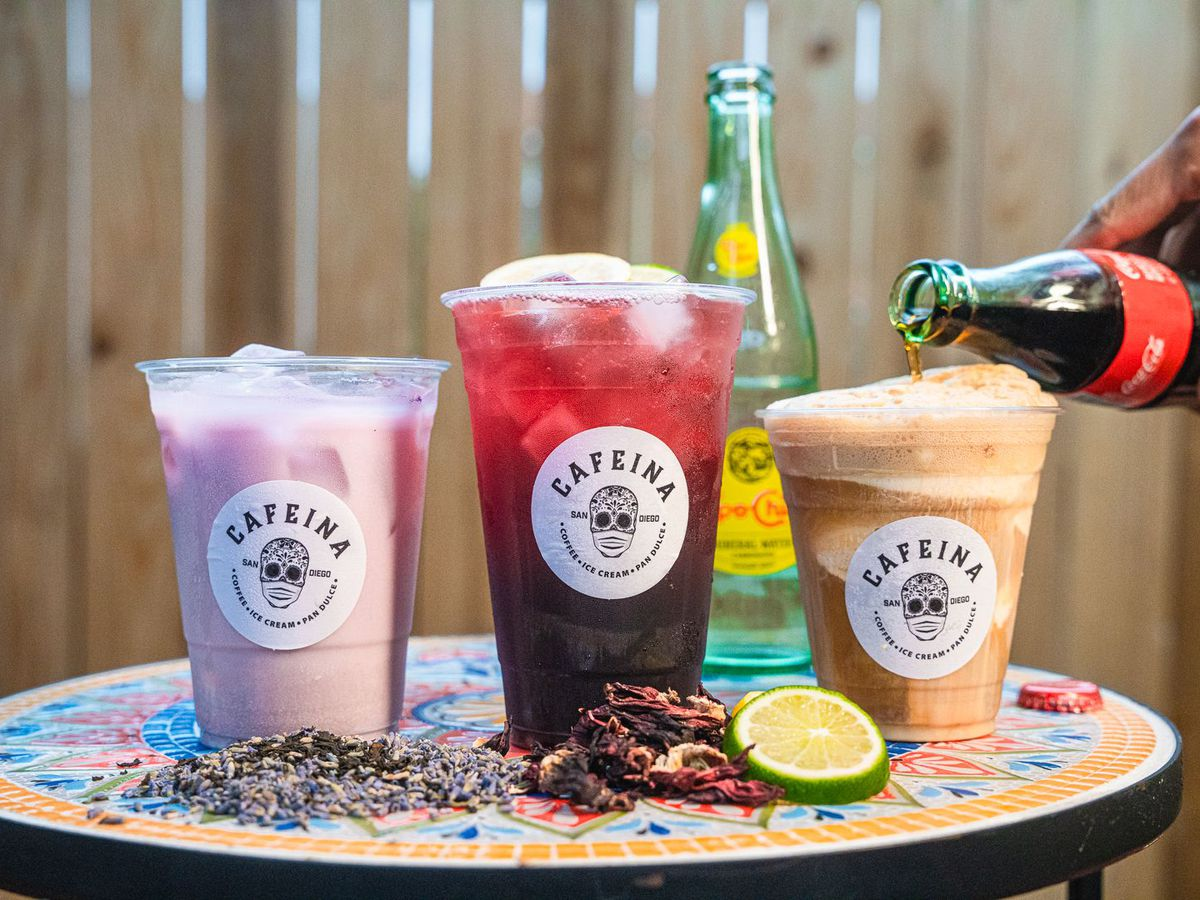 Three colorful beverages from Cafeina Cafe in City Heights, San Diego
