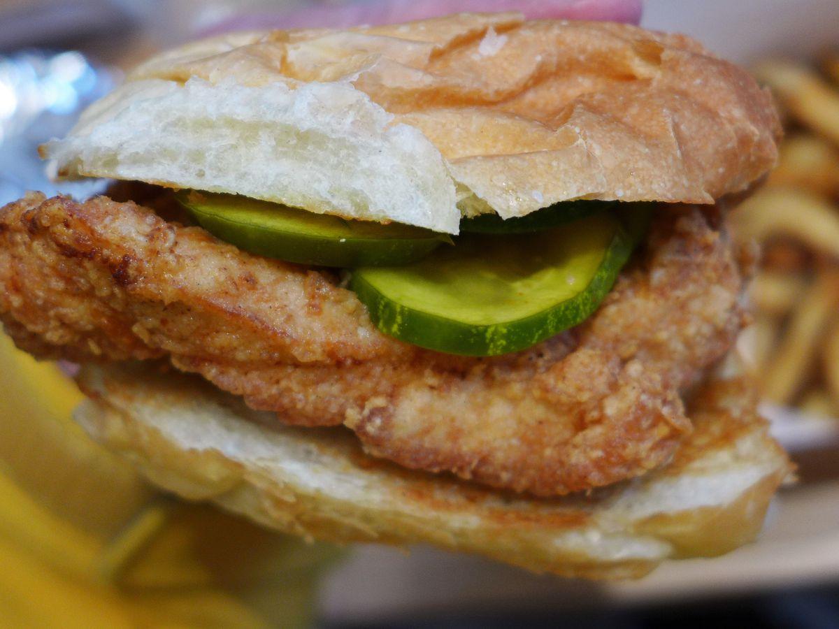Chicken sandwich and fries at Bobwhite