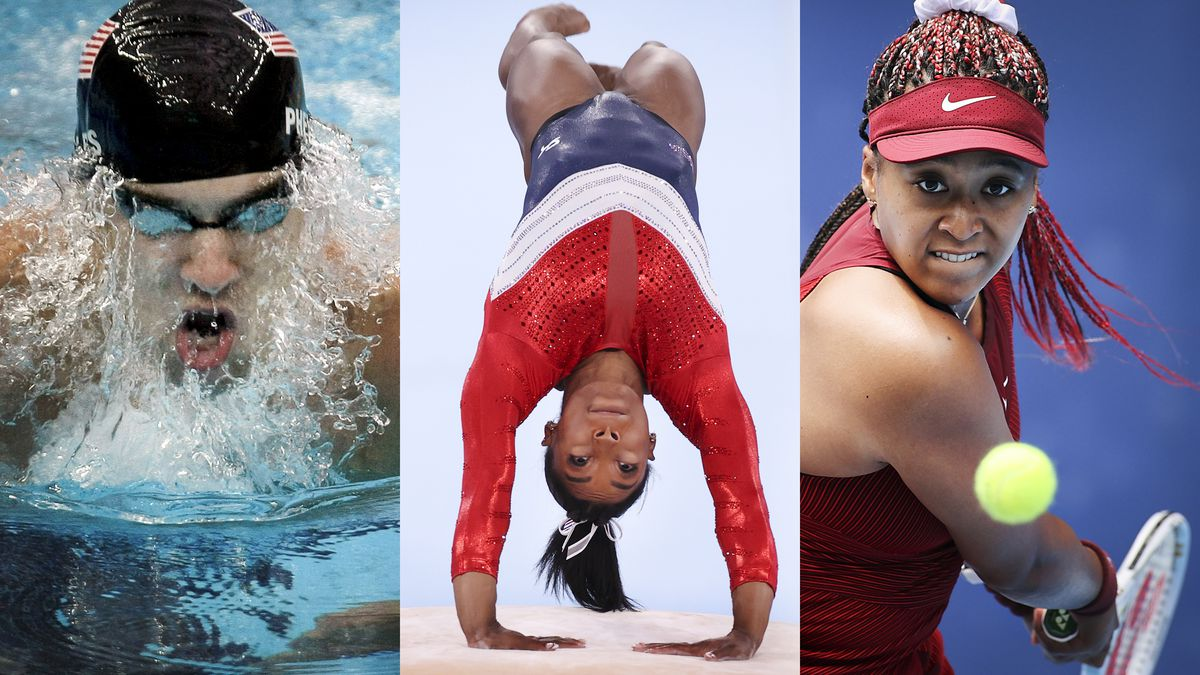 Three panels showing swimmer Michael Phelps in the water, gymnast Simone Biles upside-down on the vault, and tennis player Naomi Osaka making a backhand return.