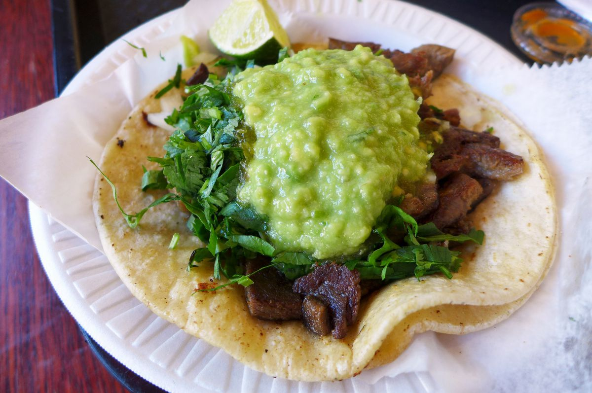 Tongue taco comes with free guac.