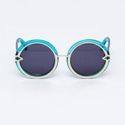 """<strong>Karen Walker</strong> Crystal Turquoise Orbit Sunglasses, <a href=""""http://www.shopacrimony.com/products/karen-walker-crystal-turquoise-orbit-sunglasses"""">$280</a> at Acrimony"""