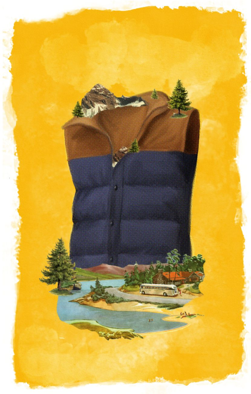 Illustration collage with vest and outdoors area