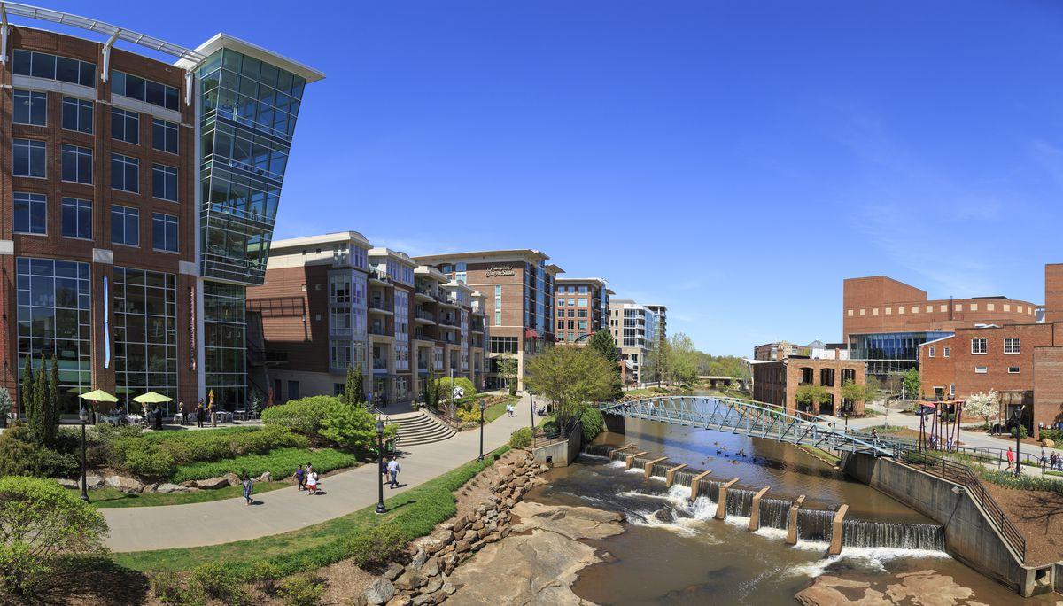 Falls Park and Riverfront Development on the Reedy, Greenville, South Carolina, USA