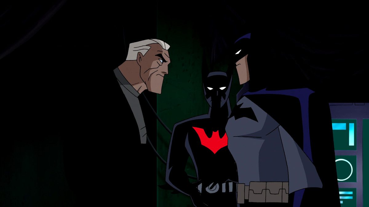Bruce Wayne, Batman (Terry McGinnis), and Batman (Bruce Wayne) meet in The Once and Future Thing, Part Two: Time, Warped