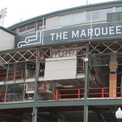 The last facing panel in the marquee area is being whittled away, slowly but surely -