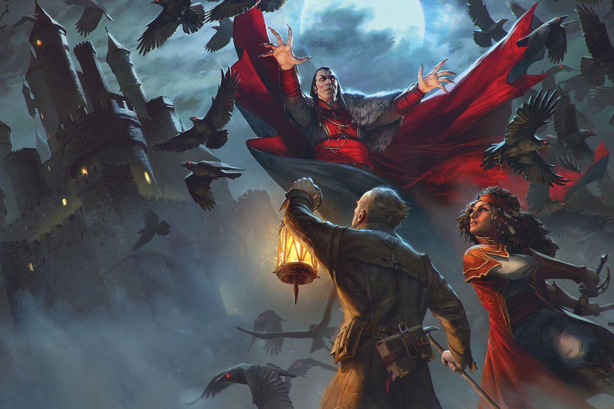 Van Richten and Esmerelda confront Strahd amidst a flock of ravens on the grounds of Castle Ravenloft.
