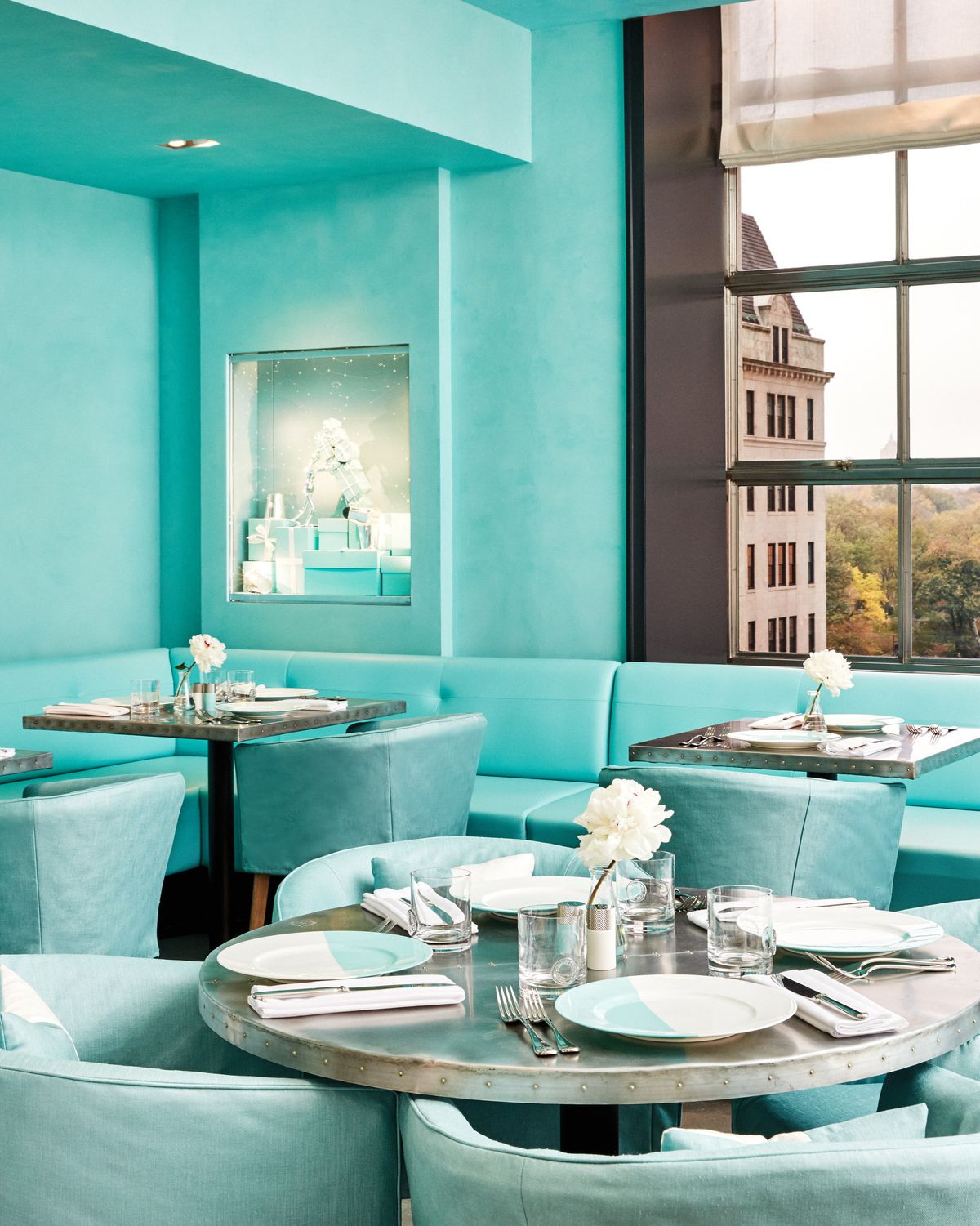 The interior of the Tiffany & Co. cafe on Fifth Avenue