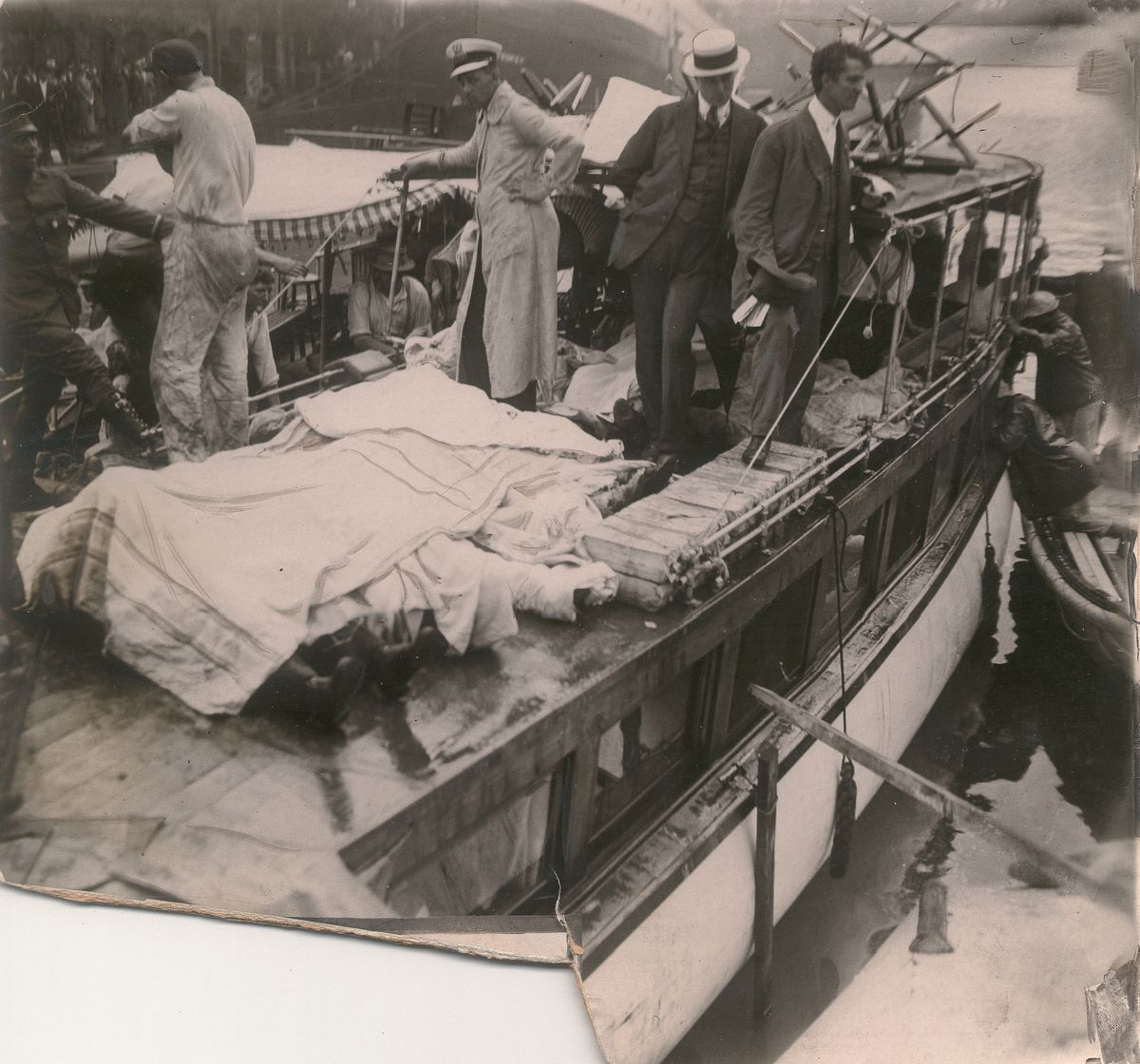 Aftermath of the sinking of the Eastland in the Chicago River on July 24, 1915, a disaster in which 844 people died. Photo is from July 27, 1995.