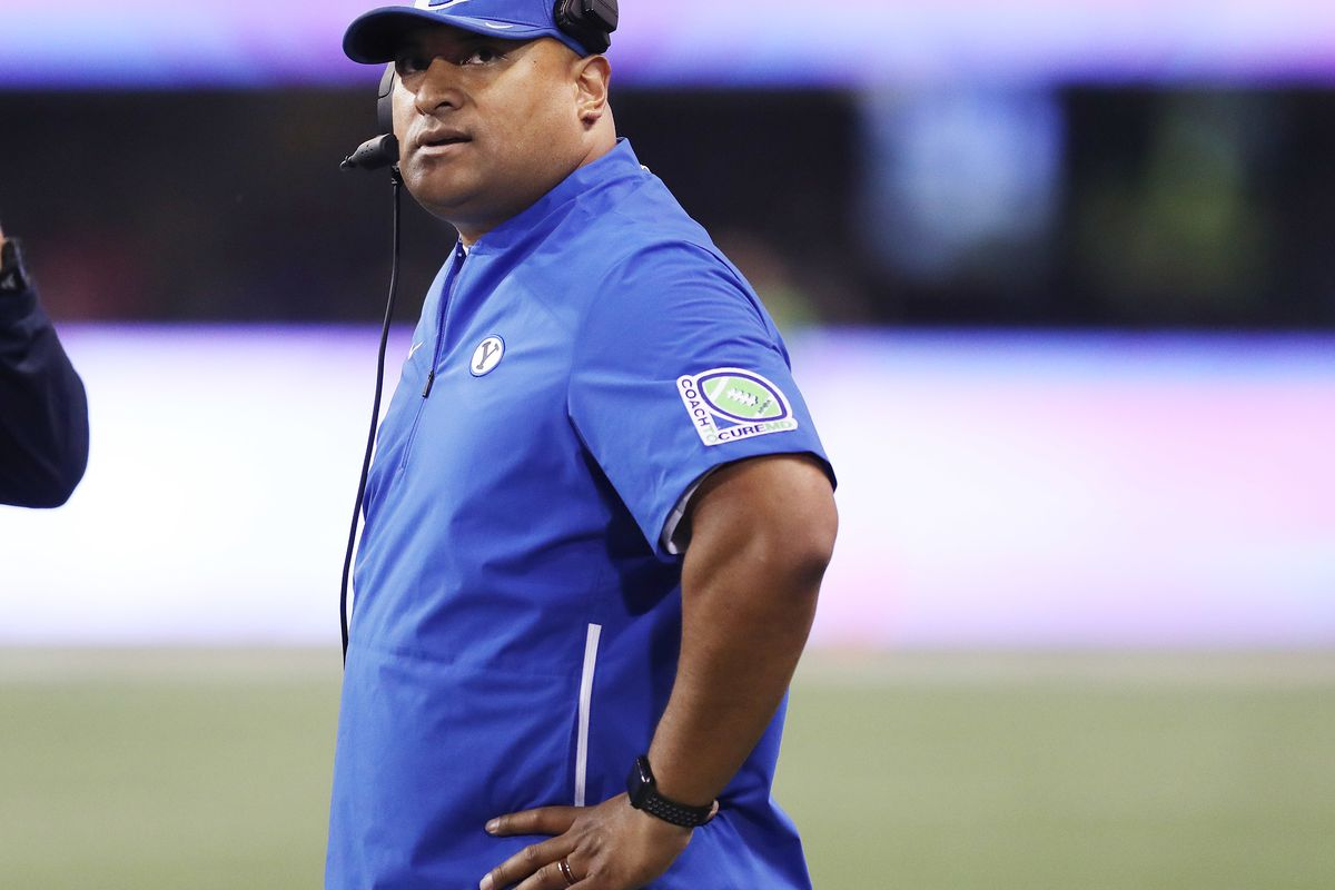 Brigham Young Cougars head coach Kalani Sitake watches the clock in Seattle on Saturday, Sept. 29, 2018.